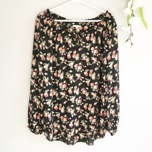 Anthropologie Pleione Floral Blouse Long Sleeve